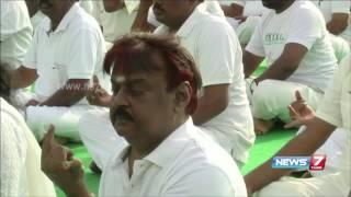 Vijayakanth's yoga performance on International Yoga day celebration - 2015 | News7 Tamil