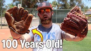100 Year Old Baseball Glove vs. Modern Day Baseball Glove! IRL Baseball Challenge