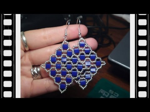 Square Tila Earrings Beading Tutorial by Honeybeads (Video tutorial)