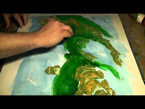 Acrílicos, Colores y texturas. Abstracto con Espátula