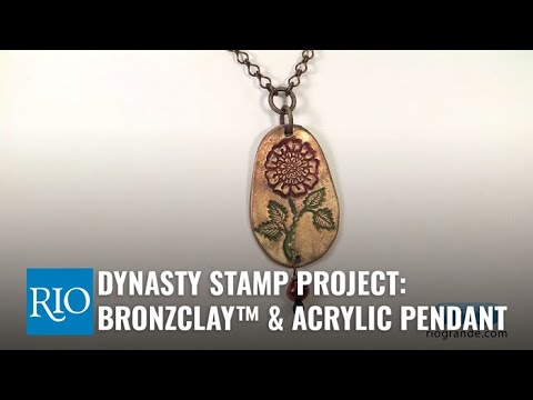 Make a Colorful Pendant with BRONZclay, Acrylic Paint and a Dynasty Stamp