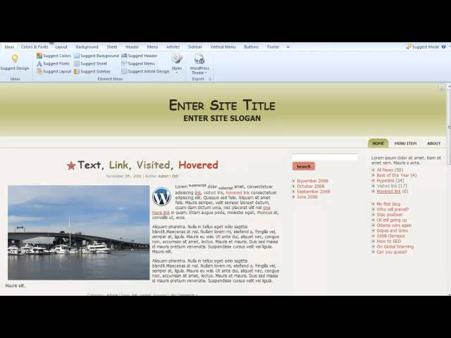 WordPress 3.0 Easy Theme Design Suggest Design Tips with Artisteer 3