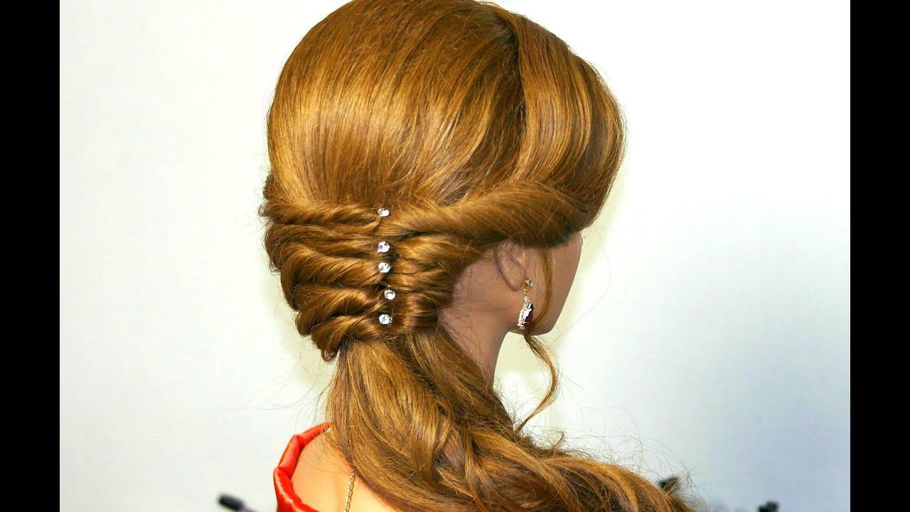 Прически для длинных волос с помощью резинки