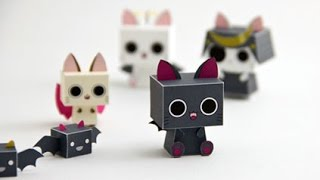 ??DIY - Nyanpire Cube Cat Paper Toy - Anime Kawaii Cat -Pepakura *free pdf **step by step