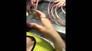 Part 2 Extremely long nails polishing in pink, Kathy Jordan