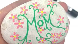 Vine & Flowers rock painting idea for Mom