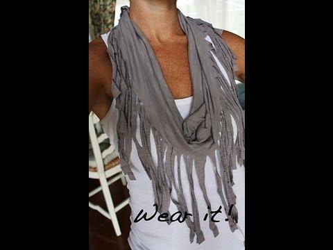 diy pancho foulard 224 frange avec un vieux t shirt