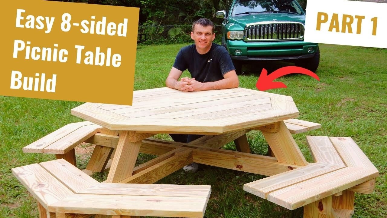 Build an Octagon Picnic Table Part 1 - YouTube