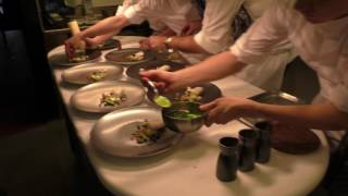 Busy kitchen at 3 Michelin star Hof Van Cleve in Belgium