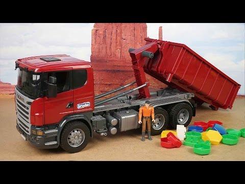 Bruder Специальный самосвал Scania со съёмным контейнером 03522 Toy Scania truck