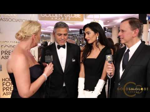 2015 1/11 George Clooney and Amal Alamuddin-Golden Globe Awards 2015