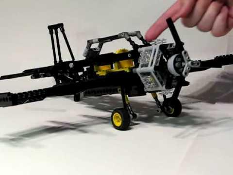 Lego plane with 6-cylinder radial engine