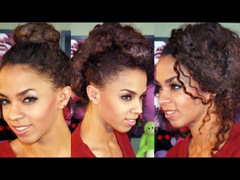 5 Updo Hairstyles in 5 Minutes! 5 Hairstyles Tutorial Braided Ballerina, Faux Hawk, Messy Side Bun