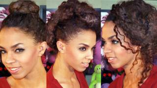 5 Updo Hairstyles in 5 Minutes! 5 Hairstyles Tutorial -ided Ballerina, Faux Hawk, Messy Side Bun