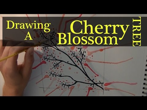 Drawing a Cherry Blossom Tree - Tribal Watercolour Style - [Speed drawing + painting]