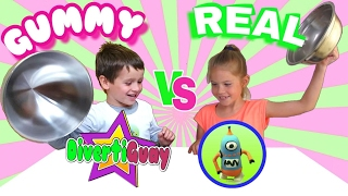 RETO REAL FOOD VS GUMMY FOOD CHALLENGE ENTRE JUEGOS Y JUGUETES Y DIVERTIGUAY