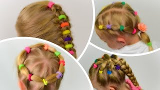 4 in 1 Toddler Hairstyles with elastics. COMPILATION #4