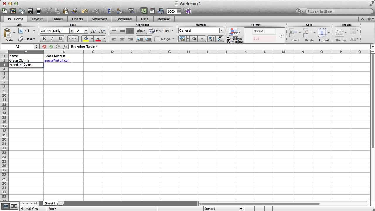how to make a mailing list in excel