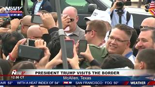 LANDING GREETING: President Trump at the U.S.-Mexico Border in McAllen, Texas (FNN)