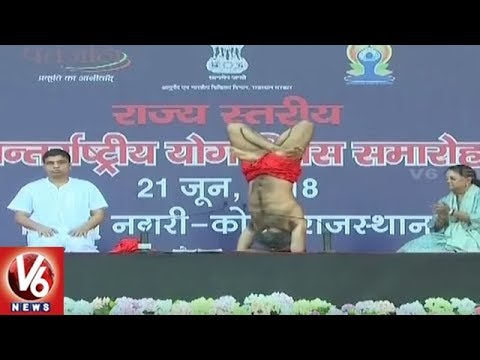 International Yoga Day : Baba Ramdev Performs Asanas With Volunteers In Rajasthan | V6 New