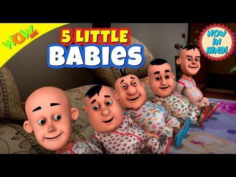 5 Little Babies | 3D animated kids songs | Hindi Songs for Children | Motu Patlu | WowKidz thumbnail