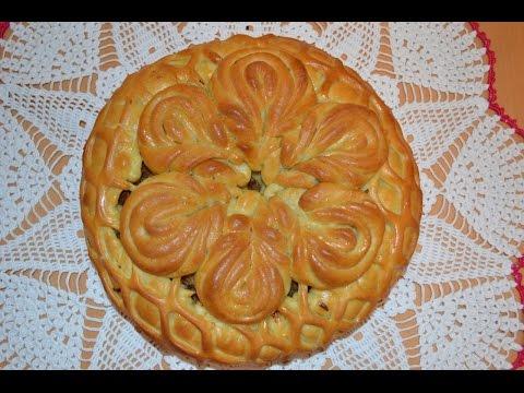 Пирог с капустой.Цветок из 6 лепестков.