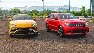 Forza Horizon 4 Drag Race 1061HP Grand Cherokee Trackhawk vs 923HP Lamborghini Urus | Racer V8