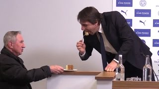 Chelsea Manager Antonio Conte Gobbles Some Cake Offered By A Journalist During Press Conference 😂