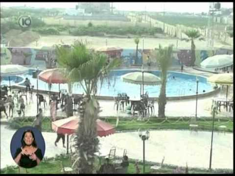 Gaza Water Park and luxury restaurants Arab Palestinians enjoy