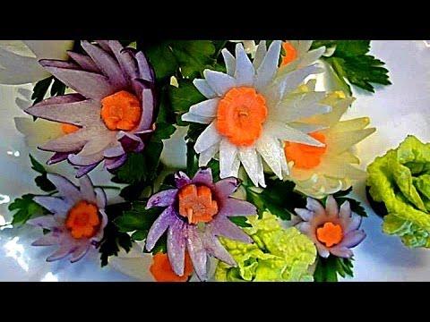 Цветы из репчатого лука. Decoration Of Vegetables