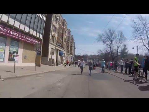 Boston Marathon 2016 -  Cleveland Circle, Brookline (GoPro bike mount)