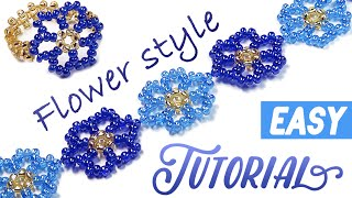 How-to make a beautiful ✿ flower ✿ bracelet using a seed beads / МК: Цветочный браслет из бисера