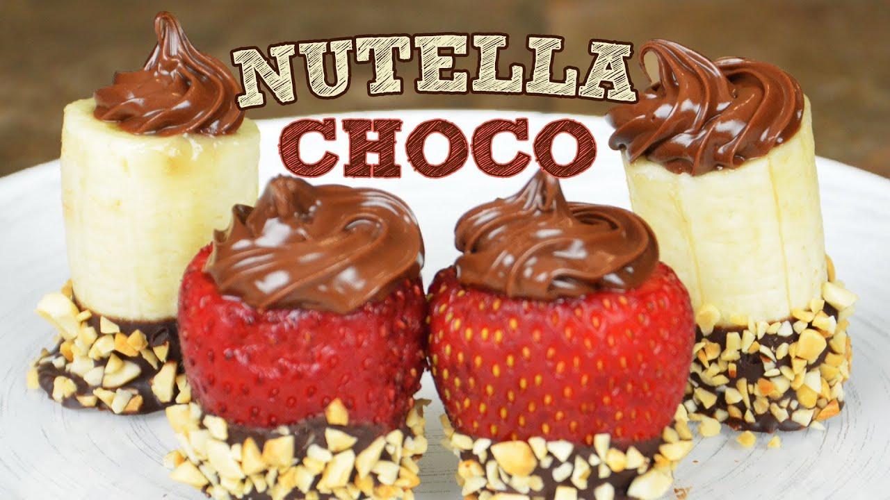 Postre fruta cubierta de nutella y chocolate recetas - Postres con frutas faciles ...