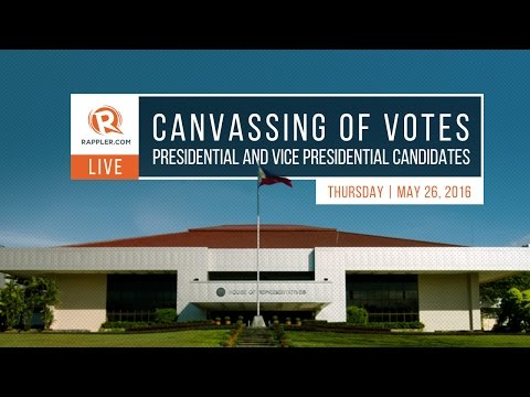 WATCH: Canvassing of votes for president and vice president, May 26