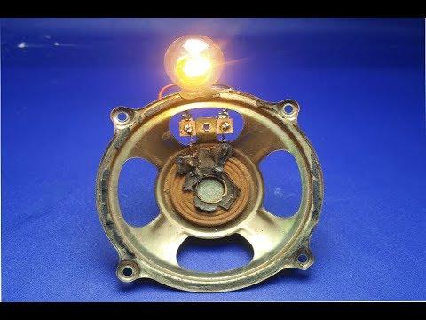 Free Energy Generator In Speaker Magnet  With Light Bulb 12V , 100% work thumbnail
