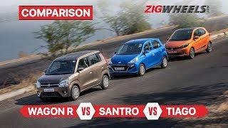 Maruti Suzuki WagonR vs Hyundai Santro vs Tata Tiago | Compact hatch comparison | ZigWheels.com