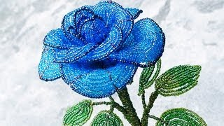 PART 1 tutorial: blue rose out of beads