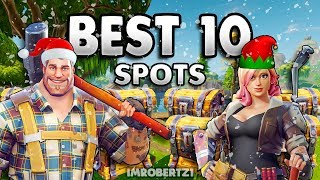 Fortnite Battle Royale BEST 10 LAND WITH GUNS SPOTS! Top 10 Weapons Places Loot Supply Locations!
