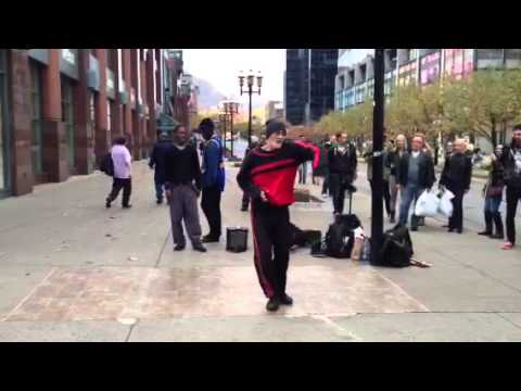65 years old dancing in streets of Montreal
