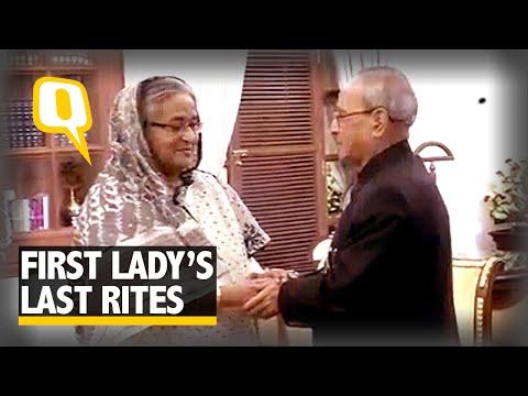 B'desh PM meets Consoles Pranab Mukherjee For His Wife's Demise