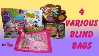 4 Blind Bags, Squinkies, Littlest PetShop, Moshi Monsters, Filly Mermaids toy opening unboxing