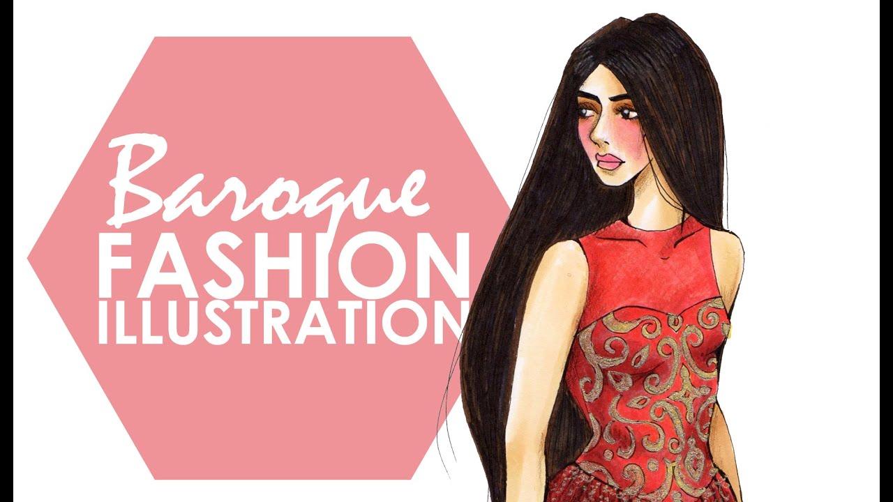 Baroque fashion sketch the image kid for Baroque design clothes