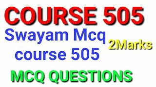 Course 505 swayam important mcq test..online ..nios important question for 2nd exam