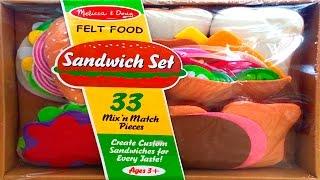 Sandwich Set Melissa & Doug Felt Food Toy Cutting Food Make Burgers Kebaps Play Food Videos