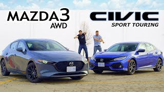 2019 Mazda 3 AWD vs Honda Civic Sport Touring // Unpacking The Hype