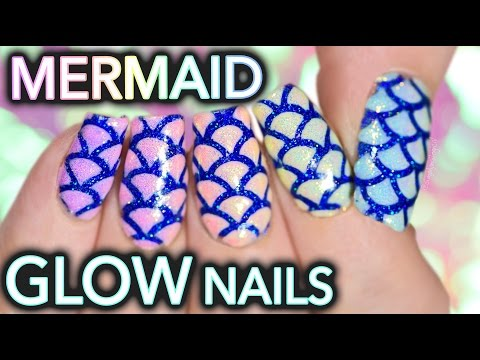 Mermaid glow nail art with shimmer effect!