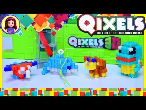Qixels 3D Figure Maker Design Creator Build Puppy Dolphin Parrot Review - Kids Toys
