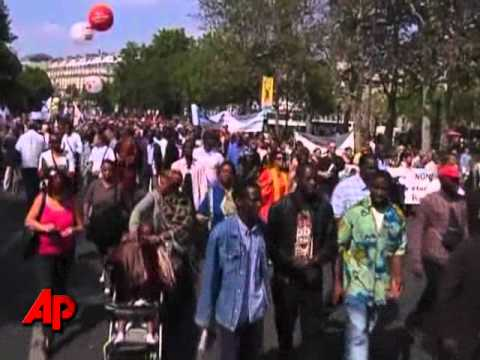 Raw Video: Thousands Protest Against Sarkozy