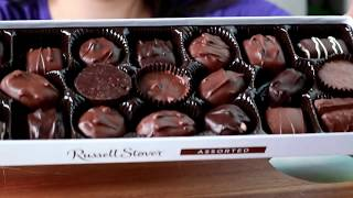 Asmr box of chocolates, Girl eating Russell Stover box of chocolate, box of chocolate mukbang