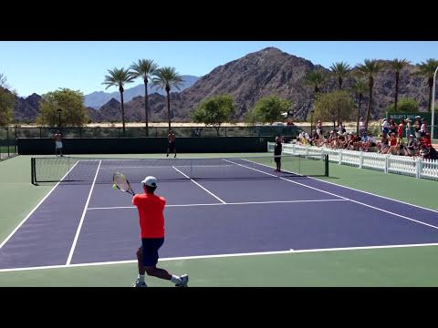 Tommy Haas and Yen Hsun Lu Indian Wells BNP Paribas Open 2013 Practice 3/11/13